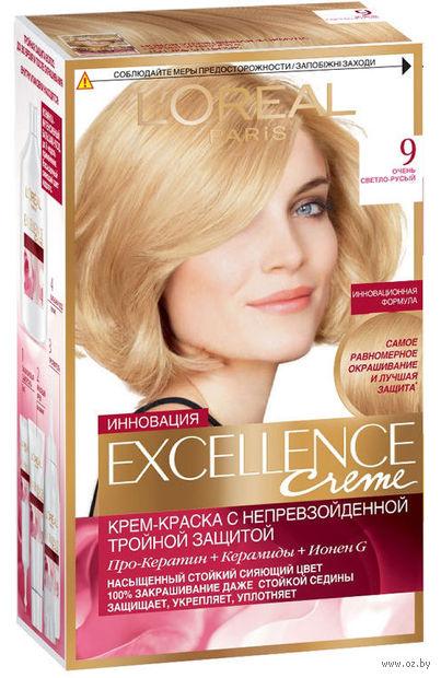 """Крем-краска для волос """"Excellence"""" (тон: 9, очень светло-русый) — фото, картинка"""