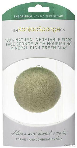 """Спонж для очистки лица """"Premium Facial Puff with French Green Clay. С зеленой глиной. Для расширенных пор"""" — фото, картинка"""