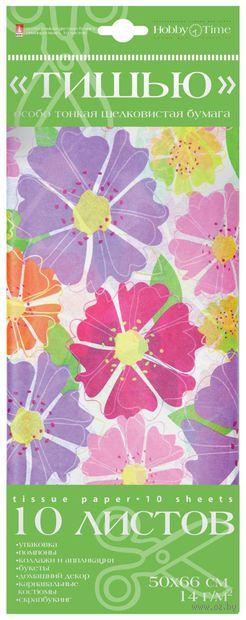 """Бумага тишью цветная """"Яркие цветы"""" (10 листов) — фото, картинка"""