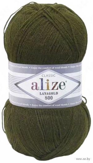 """Пряжа """"ALIZE. Lana Gold 800 №214"""" (100 г; 800 м; оливковый зеленый) — фото, картинка"""