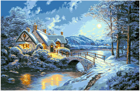 "Алмазная вышивка-мозаика ""Зимняя ночь"" (750х1050 мм) — фото, картинка"