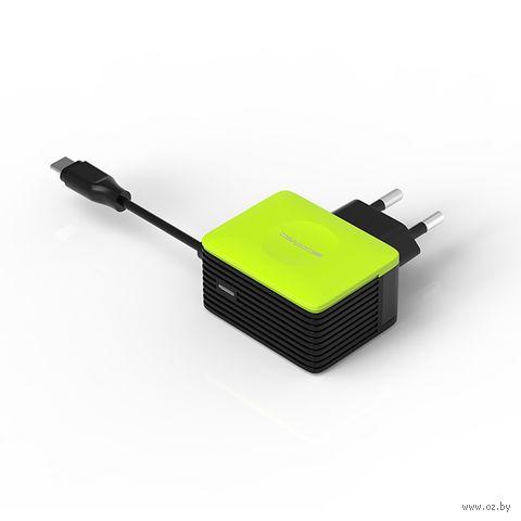Сетевое зарядное устройство Atomic U213M с кабелем type C, 3A (черно-зеленое) — фото, картинка